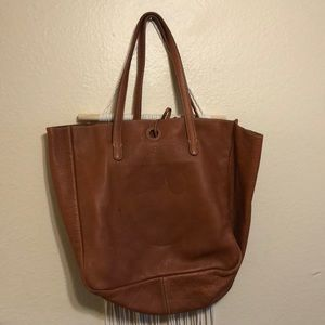 J. Camel brown leather tote bag
